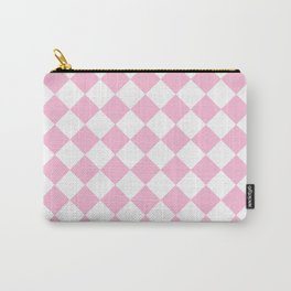 Diamonds - White and Cotton Candy Pink Carry-All Pouch