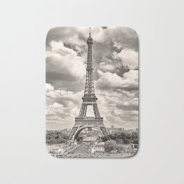 Eiffel Tower in sepia in Paris, France. Landmark in Europe Bath Mat