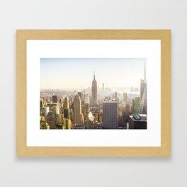 New York City Skyline Sun Framed Art Print