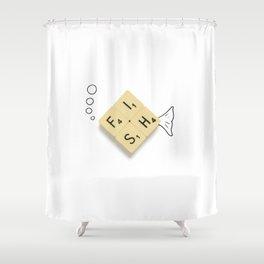 Fish Scrabble Shower Curtain