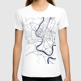 Bangkok Thailand Minimal Street Map - Navy Blue and White T-shirt