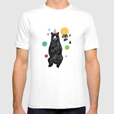Bear Scape White Mens Fitted Tee SMALL