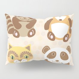 Funny cute raccoon, panda, fox, cat on dot background. Pillow Sham