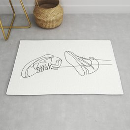 Sneakers simple minimal one line art, hanging shoes branded shoes  Rug