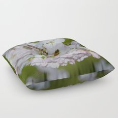 Cherry Blossoms and Bee Floor Pillow