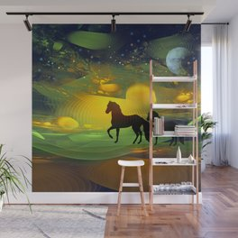 Awakening, Mysterious mixed media art with horses Wall Mural