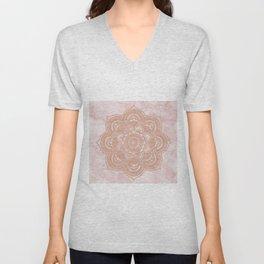 Rose gold mandala - pink marble Unisex V-Neck
