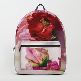 Red pink roses wedding bouquet - floral photogrpaphy Backpack