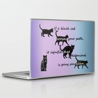 marx Laptop & iPad Skins featuring Black cat crossing by IvanaW