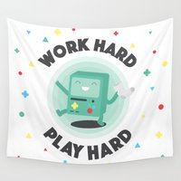 bmo Wall Tapestries featuring Work Hard, Play BMO by Milli-Jane