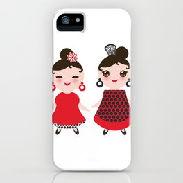 Spanish Woman flamenco dancer. Kawaii cute face with pink cheeks and winking eyes. Gipsy girl iPhone Case