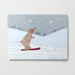 Bear Boarding Metal Print