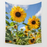 sunflowers Wall Tapestries featuring Sunflowers by David Tinsley