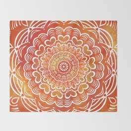 Fall Autumn Heart Pattern Mandala - Detailed Ethnic Textured Painted Mandalas (Orange, Red, Rust) Throw Blanket
