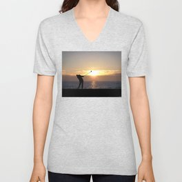 Playing Golf At Sunset Unisex V-Neck