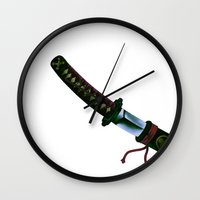 sword Wall Clocks featuring Japanese Sword by FACTORIE