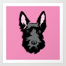 Black Scottie Dog on Pink Background Art Print