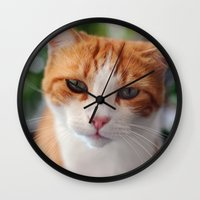 "garfield Wall Clocks featuring Garfield - a red cat by Michele ""Sonik"" Bruseghin"