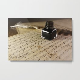 Writing a very old musical score with ink and feather Metal Print