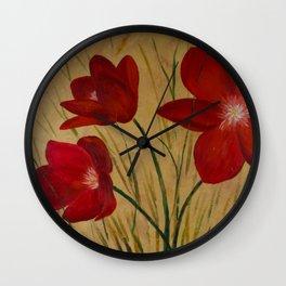 Three Ruby Flowers Wall Clock