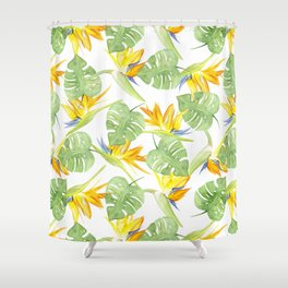 watercolor pattern tropical leaves and flowers bird of paradise Shower Curtain