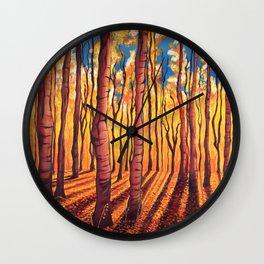 Birch Trees in the Fall Wall Clock