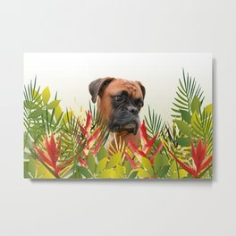 Boxer in Jungle Leaves with Heliconia Metal Print