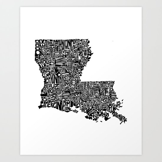 Typographic Louisiana Art Print