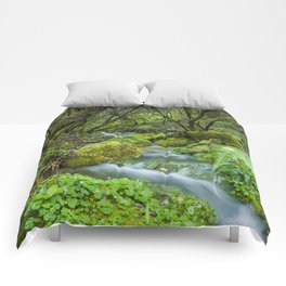 Deep in the green forest Comforters