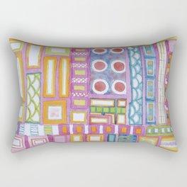 Filled Pink Grid Rectangular Pillow
