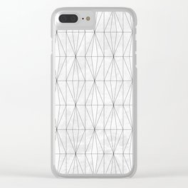 White Rhombus on White Marble Clear iPhone Case