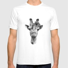 Portrait of Giraffe Mens Fitted Tee SMALL White
