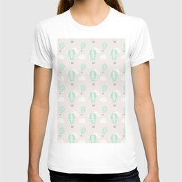 Hand painted mauve pink green white hot air balloons pattern T-shirt