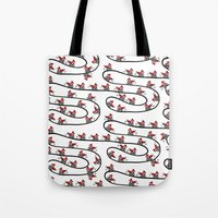 cycling Tote Bags featuring Cycling Foxes by Woolpecula