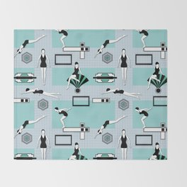 Art Deco Swimmers Throw Blanket