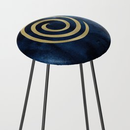 Infinity Navy Blue And Gold Abstract Modern Art Painting Counter Stool