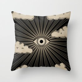 Radiant eye minimal sky with clouds - black and gold Throw Pillow