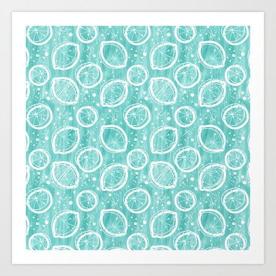 Atomic Lemonade_Cerulean and White Art Print
