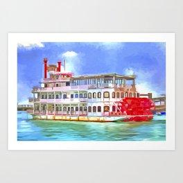New Orleans Paddle Steamer Pop Art Art Print