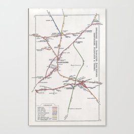 Railway Junction Diagram (1914) 023 - Applehurst, Doncaster, Stainforth, Thorne Canvas Print