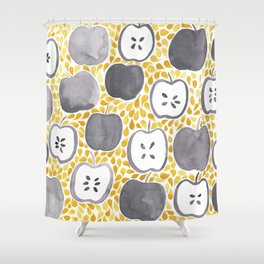 Watercolour Apples | Mustard and Grey Palette Shower Curtain