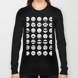 Black and White Emoticons Long Sleeve T-shirt