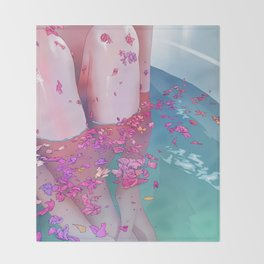 Flower Bath 4 Throw Blanket