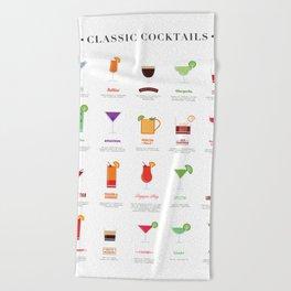 Classic Cocktails Print Art Poster | Drink Recipes | Bar Poster | Bar Art | Kitchen Art | Alcohol Beach Towel