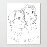 i want to believe Canvas Prints featuring I WANT TO BELIEVE by Anna Wanda Gogusey