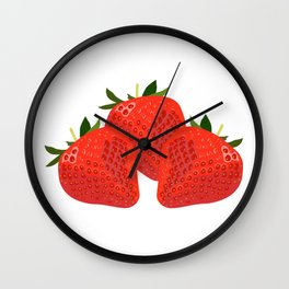 Sweet and crunchy organic strawberries Wall Clock