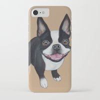boston terrier iPhone & iPod Cases featuring Boston Terrier by PaperTigress