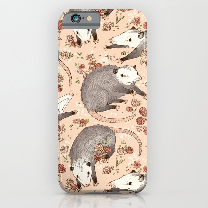 opossum and roses iphone case