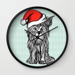 Christmas Dog In Santa Clause Hat Wall Clock