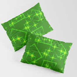 Lime diamonds and squares at the intersection with the stars on a green background. Pillow Sham